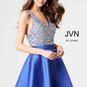 Nová kolekcia-modré koktejlove JOVANI šaty s vykladaným korzetom