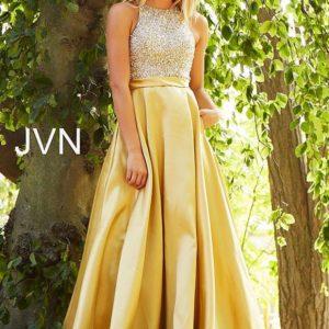 Jovani zlate šaty s vykladaným korzetom